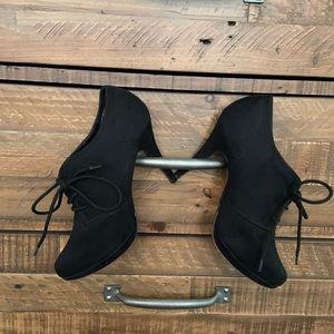 Xappeal Black Suede Tie Up Heels. Size 9
